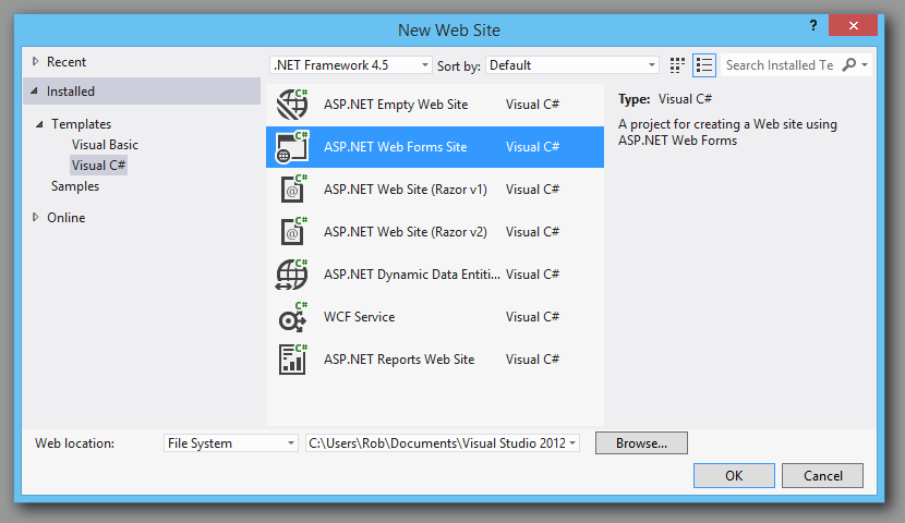 Starting a VS2012 Visual Studio asp.net project.