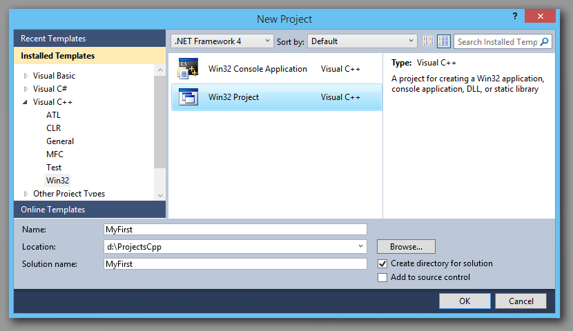 C++, CPP, Win32 Starting Visual Studio Project.