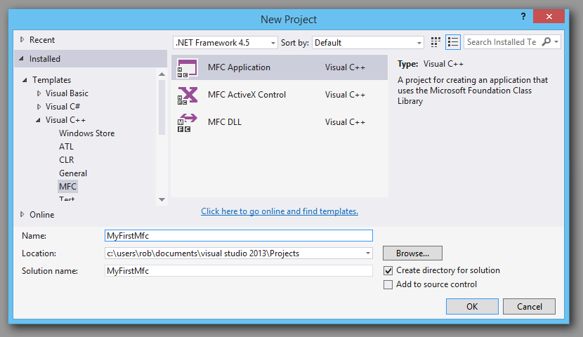 Mfc Dll charting library starting visual studio project.