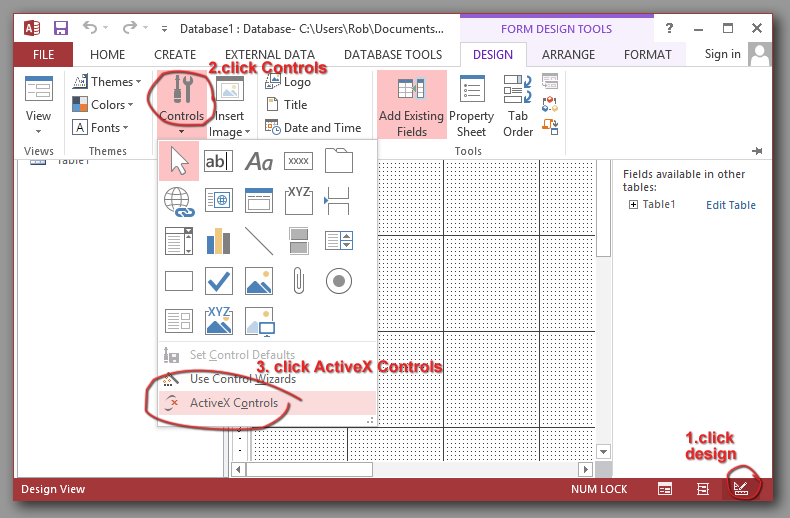 MS Access Charting ActiveX example with VBA to read table