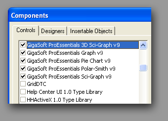 Charting ActiveXs within the components dialog. Gigasoft' 5 controls beat MSChart's one control.