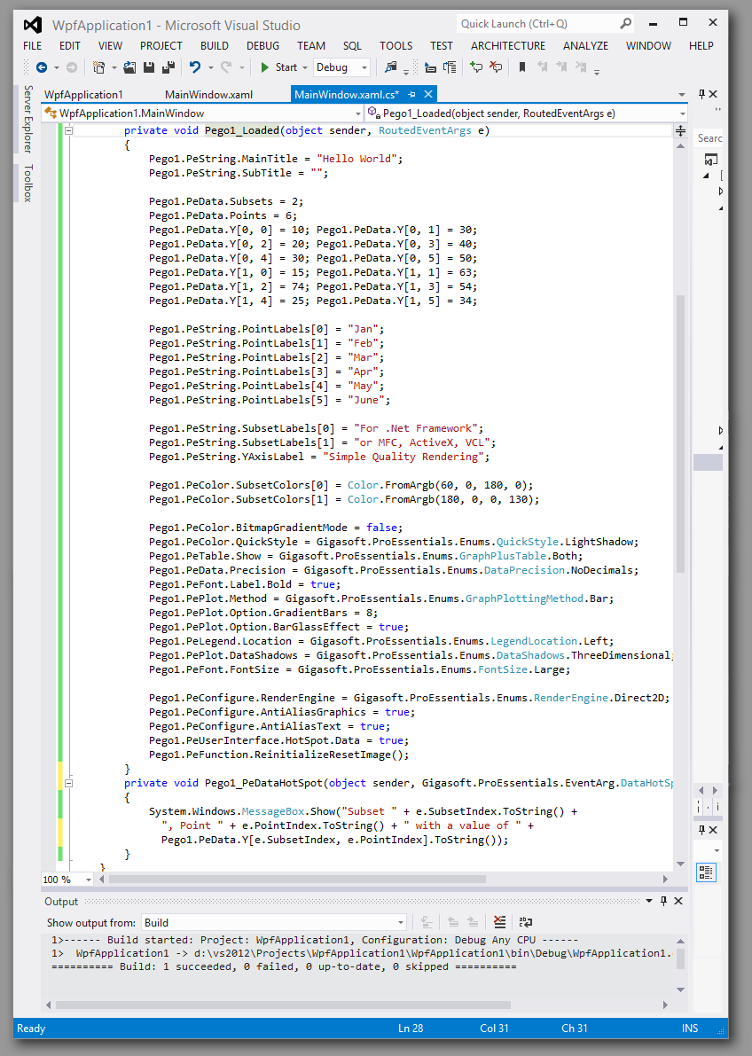 WPF C# vs2012 code window