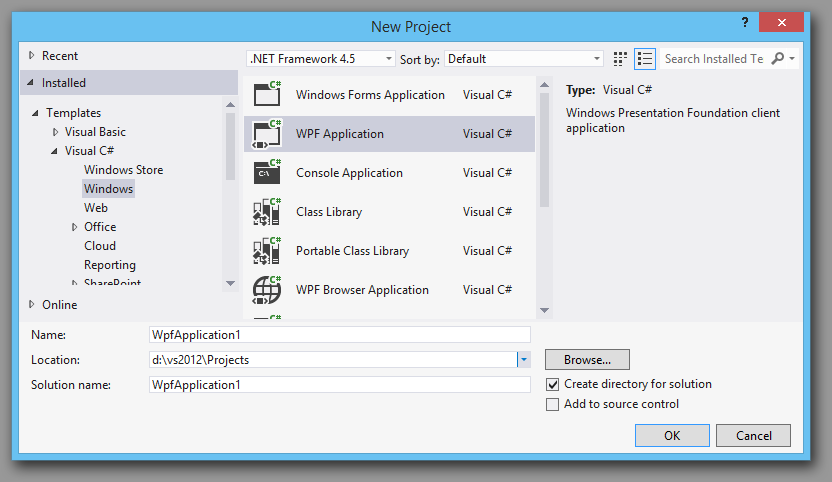wpf c# project vs2012
