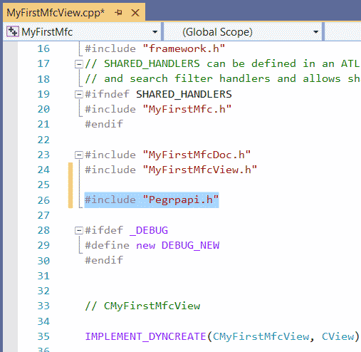 MFC Chart Component adding header file VS2019