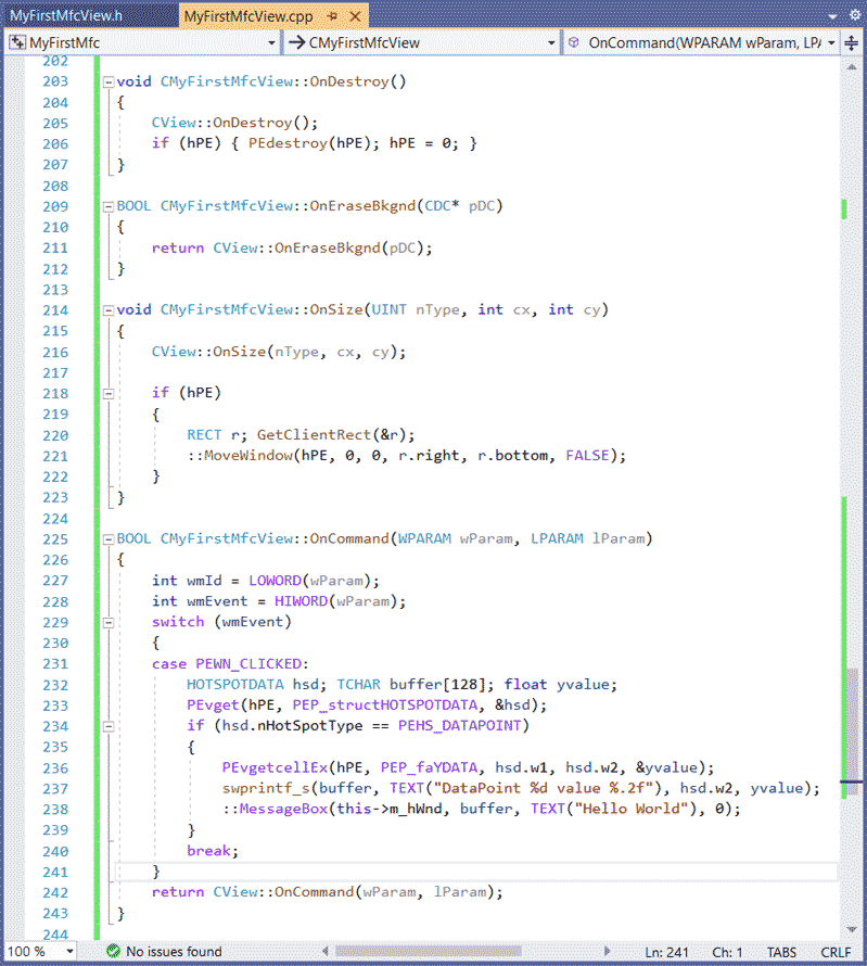 MFC Chart code window for OnCreate VS2019